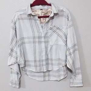 Free People Sz M plaid crop button front shirt